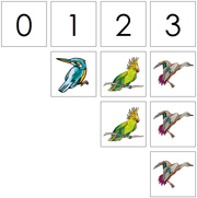 0 to 10 Numbers and Counters (Birds) - Printable Montessori Math Materials by Montessori Print Shop.