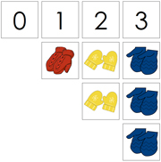 0 to 10 Numbers and Counters (Mittens) - Printable Montessori Math Materials by Montessori Print Shop.