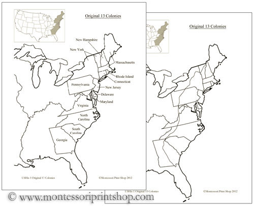13 Original Colonies of the USA: Printable Montessori History Maps
