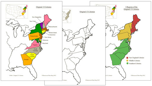 13 Original Colonies of the USA Printable Montessori History Maps