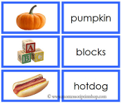 Blue Words and Picture Cards #2 - Printable Montessori Learning Materials for home and school.