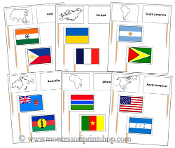 Pin Map Flags Bundle (no color-coding) - Printable Montessori Materials by Montessori Print Shop. - Montessori Materials