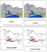 River Nomenclature Cards (Red) - Printable Montessori Learning Materials by Montessori Print Shop.