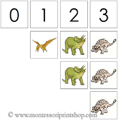 0 to 10 Numbers and Counters (Dinosaurs) - Printable Montessori Math Materials by Montessori Print Shop.