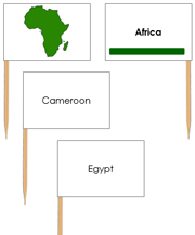 Africa - pin flags (color-coded) - Printable Montessori geography materials by Montessori Print Shop.