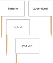 Australia Capital Cities - Pin Map Flags - Printable Montessori Learning Materials by Montessori Print Shop.