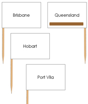 Australian Capital Cities - Pin Map Flags (color-coded) - Printable Montessori Learning Materials by Montessori Print Shop.