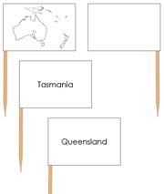 Australia Map Labels - Pin Map Flags - Printable Montessori Learning Materials by Montessori Print Shop.