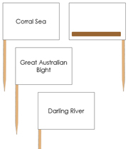 Australian waterway labels - Pin Map Flags (color-coded) - Printable Montessori Learning Materials by Montessori Print Shop.