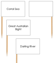 Australia waterway labels - Pin Map Flags - Printable Montessori Learning Materials by Montessori Print Shop.