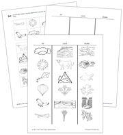 Air, Land and Water Sorting Blackline Masters - Printable Montessori Learning Materials by Montessori Print Shop.