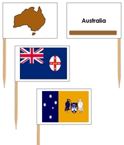 Australia Flags: Pin Map Flags (color-coded) - Printable Montessori Learning Materials by Montessori Print Shop.
