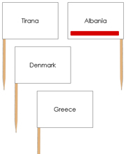 Europe Capital Cities - Pin Map Flags (color-coded) - Printable Montessori Learning Materials by Montessori Print Shop.