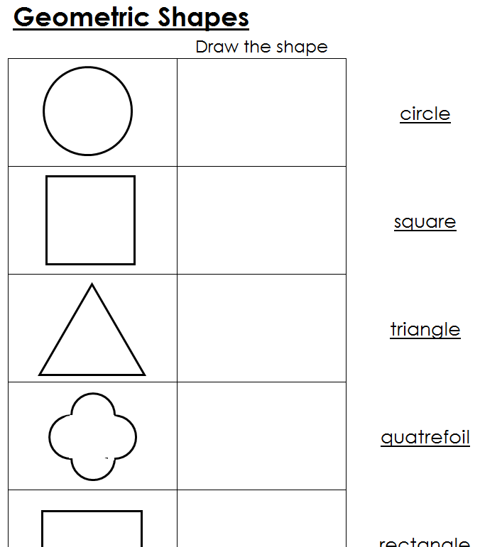 Worksheets for Geometric Shapes Printable Montessori Math materials – Geometry Shapes Worksheets