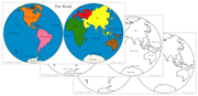 The World Map (Hemispheres) Control Maps - Printable Montessori Learning Materials by Montessori Print Shop.