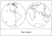 Continents by Hemisphere (in Red) - Printable Montessori Learning Materials by Montessori Print Shop.