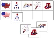 4th of July Match-Up & Memory - Printable Montessori preschool materials by Montessori Print Shop.