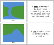 Land and Water Form Book (b/g) - Printable Montessori Learning Materials by Montessori Print Shop.