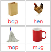 Phonetic Picture Cards (Level 1) - Printable Montessori Language Materials for home and school.