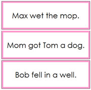 Pink Phonetic Sentence Cards 2 - Printable Montessori Language Materials for home and school.