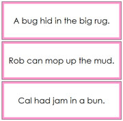 Pink Phonetic Sentence Cards 3 - Printable Montessori Language Materials for home and school.