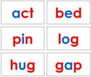Red and Blue Phonetic Word Cards Level 1 - Printable Montessori Learning Materials by Montessori Print Shop.