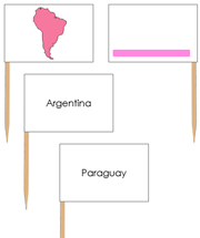 South America - Pin Map Flags (color-coded) - Printable Montessori Learning Materials by Montessori Print Shop.