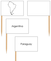 South America - Pin Map Flags - Printable Montessori Learning Materials by Montessori Print Shop.