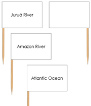 South America waterway labels - pin flags - Printable Montessori geography materials by Montessori Print Shop.