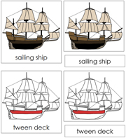Sailing Ship Nomenclature Cards (red) - Printable Montessori materials by Montessori Print Shop.
