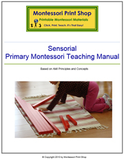 Primary Montessori Sensorial Teaching Manual by Montessori Print Shop.