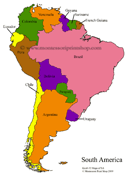 South America Printable Montessori Geography Materials by