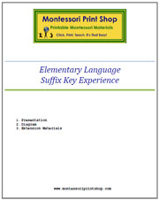 Elementary Suffix Key Experience & Materials - Printable Montessori Learning Materials by Montessori Print Shop.