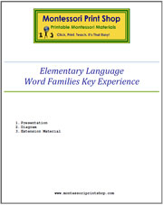 Elementary Word Families Key Experience & Materials - Printable Montessori Learning Materials by Montessori Print Shop.