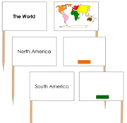 World Map Labels - Pin Map Flags (color-coded) - Printable Montessori Learning Materials by Montessori Print Shop.