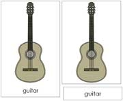 Guitar Nomenclature Cards - Printable Montessori Learning Materials by Montessori Print Shop.