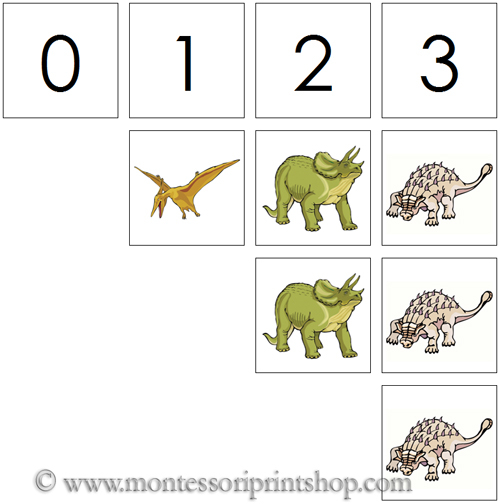 0 to 10 Numbers and Counters (Dinosaurs) - Printable Montessori Materials for home and school.
