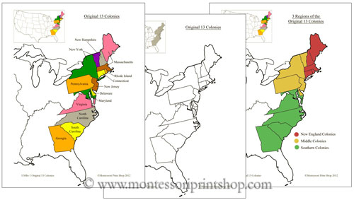 13 Original Colonies of the USA Printable Montessori History Maps – 13 Colonies Map Worksheet