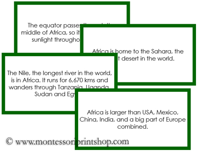 Africa Fun Fact Cards (green) - Printable Montessori Home Learning ...