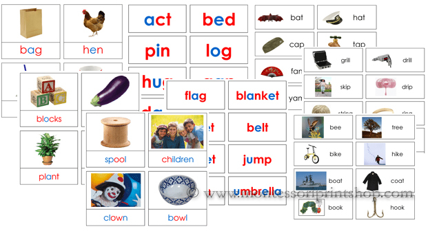 Montessori phonetic word cards and rhyming cards - Printable Montessori materials
