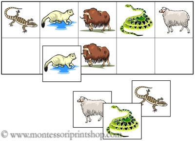 Animal Match-Up and Memory Sheets for Montessori Learning at home and school.