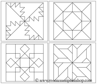 Geometric Art Patterns Set 3 - Printable Montessori Art lessons for Montessori Learning at home and school