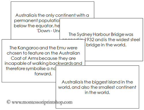 Australia - Fun Facts - Printable Montessori Geography Materials
