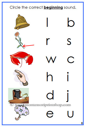 Blue Initial Sound Choice Cards -  - Montessori Blue Phonetic Language Series for Montessori Learning at home and at school.