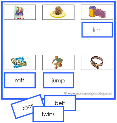 Blue Sheets and Labels -  - Montessori Blue Phonetic Language Series for Montessori Learning at home and at school.
