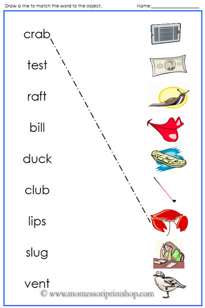 Blue Words and Objects Match - Montessori Blue Phonetic Language Series for Montessori Learning at home and at school.