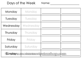 Printables Printable School Worksheets calendar worksheets printable montessori materials for home and school