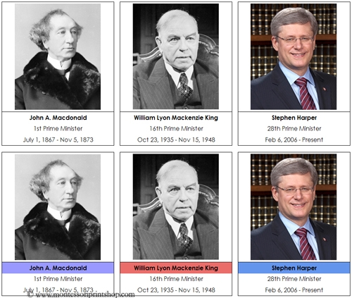 Canadian Prime Ministers - Printable Montessori History Cards