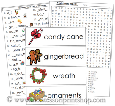 Christmas Word Wall - Printable Montessori Materials for home and ...