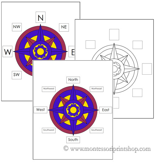 Compass Rose - Printable Montessori Geography materials
